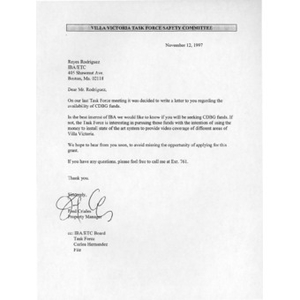 Letter to Reyes Rodriguez from Fed Criales.
