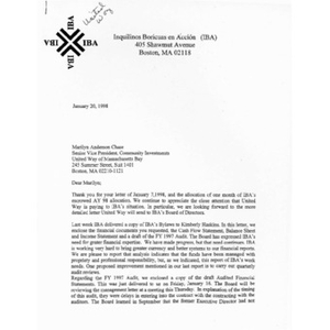Letter to Marilyn Anderson Chase from Jolanda Tubens and Reyes Rodríguez.