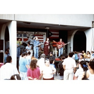 Band performing under the arcade at Festival Betances.