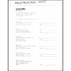 Specifications for the rehabilitation of buildings at 610-626 Tremont and 336-346 Shawmut Avenue, Boston, MA