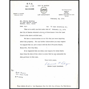 Letter to ETC Developers, Inc. from Edward H. Riley.