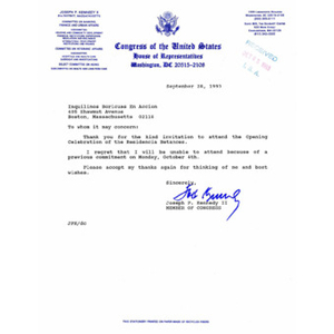 Letter to Inquilinos Boricuas En Accion from Congressman Joseph P. Kennedy.