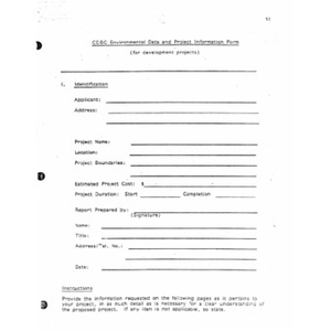 CDBG environmental data and project information form.