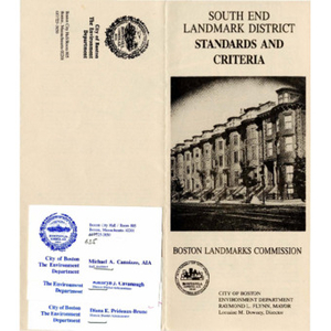 South end landmark district standards and criteria