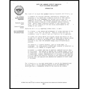 South end landmark district commission policy on window replacement.