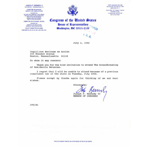 Letter to Inquilinos Boricuas en Acción from Joseph P. Kennedy II.