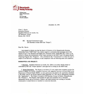 "Revised commitment letter 326 Shawmut Avenue SRO (the ""project"")."