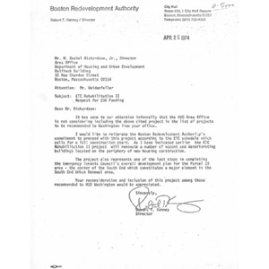 Letter to M. Daniel Richardson from Robert T. Kenney.