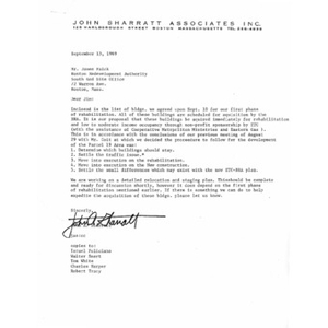Letter to James Falck from John A. Sharratt.