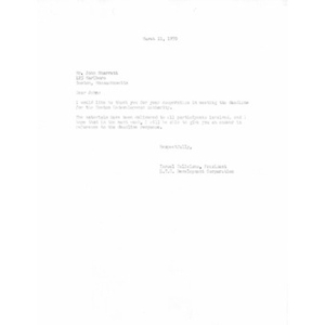 Letter to John A. Sharratt from Israel Feliciano.