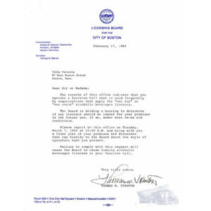 Letter to Villa Victoria from the Licensing Board for the City of Boston.