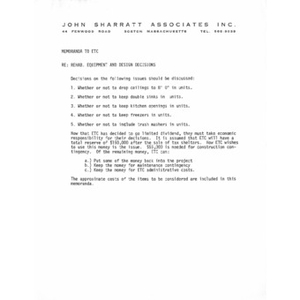 John Sharrett Associates, Inc. memoranda.