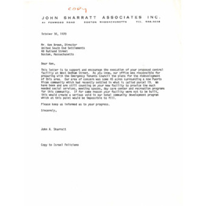 Letter to Ken Brown from John A. Sharratt.