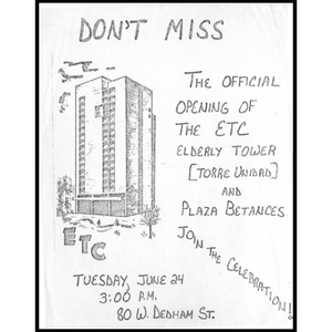 Don't miss the official opening of the ETC elderly tower [Torre Unidad] and Plaza Betances