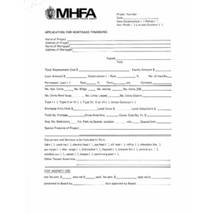 Application for mortgage financing.