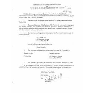 Certificate of limited partnership of Viviendas Apartments Limited Partnership.