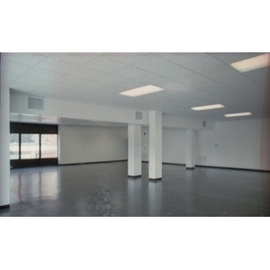 Big empty room with a window and white, dropped ceiling and blocky white columns.