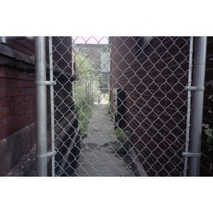 View of the alleyway that separated the former Shawmut Congregational Church from Villa Victoria housing.