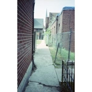 An alleyway running alongside the ruins of the former Shawmut Congregational Church.