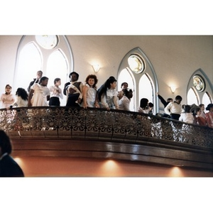 Blackstone Elementary School children singers waiting on the balcony before their performance at the opening of the Villa Victoria Cultural Center.