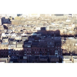 Bird's-eye view of the row houses of Boston's South End.