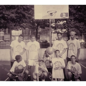 Group portrait of the Boston Police District 4 Basketball League.