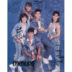 Autographed photograph of the boy band, Menudo.