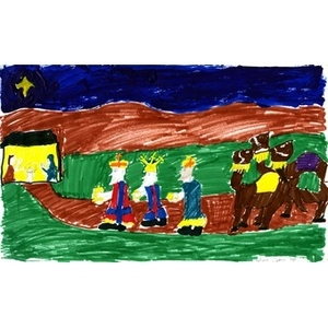 A drawing by LatoyCorrea, for the Three Kings' Day drawing competition. Latoywas the female winner.