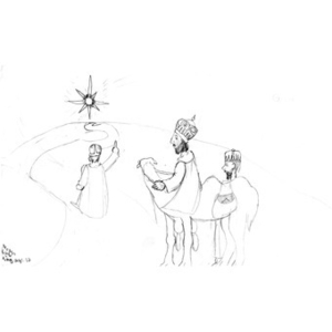 A drawing by Noah Cato, for the Three Kings' Day drawing competition. Noah was the male winner.