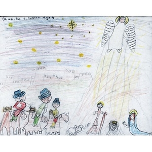 A drawing by ShamikE. Correa, for the Three Kings' Day drawing competition. Shamikwon the 9 year old contest.