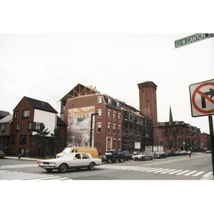 View from down the street of the construction of Taino Tower on the site of the former Shawmut Congregational Church.