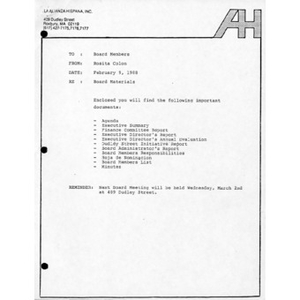 Meeting materials for February 1988.