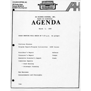 Meeting materials for March 1989.