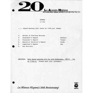 Meeting materials for February 1990.