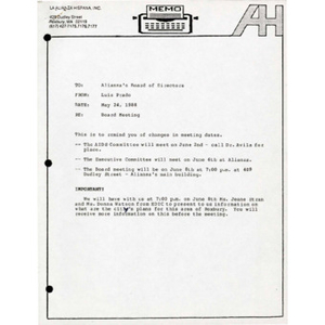 Meeting materials for May 1988.