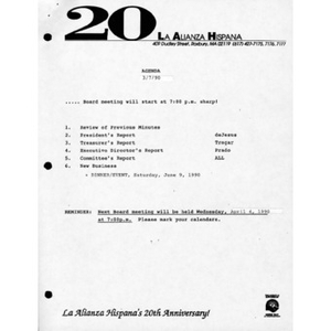 Meeting materials for March 1990.