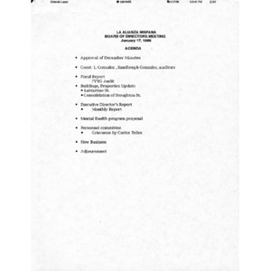 Meeting materials for January 17, 1996.