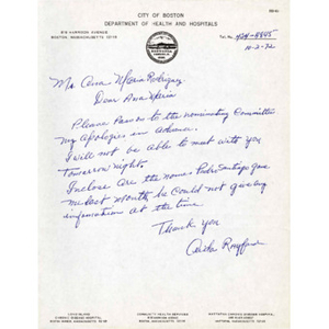 Letter from Aida Rayford to Ana Maria Rodriguez.