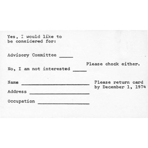 Advisory Committee interest form.