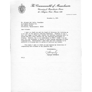 Letter from Angeles Rodriguez to Orlando del Valle.
