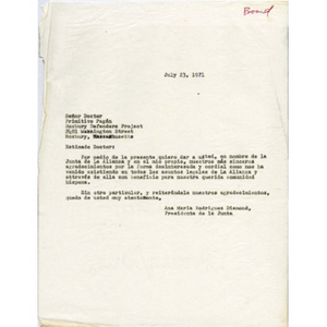 Letter from Ana Maria Rodriguez Diamond to Dr. Primitivo Pagan.