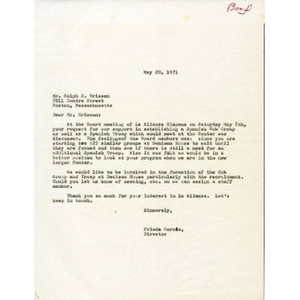 Letter from Frieda Garcia to Ralph Brisson.