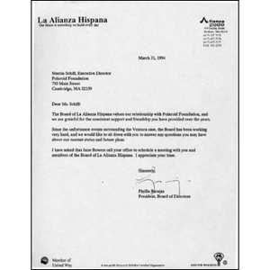 Letter from Phyllis Barajas to Marcia Schiff of the Polaroid Foundation.