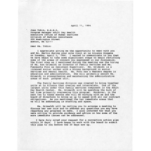 Letter from William Rodriguez to Joan Tobin of the Boston Division of Medical Assistance.