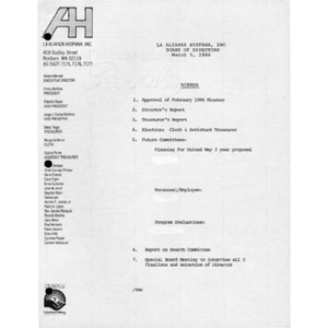 Meeting materials for March 5, 1986.