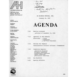 Meeting materials for January 22, 1987.