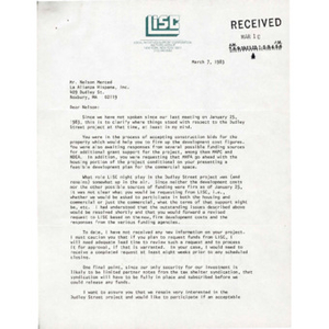 Letter from Local Initiatives Support Corporation program officer Michael Rubinger to Nelson Merced.