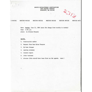 Bohio Development Corporation meeting materials for June 1984.