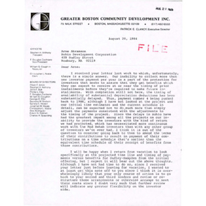 Letter from Patrick Clancy to Arne Abramson.