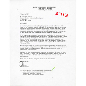 Letter from Arne Abramson to Patrick Clancy of Greater Boston Community Development.